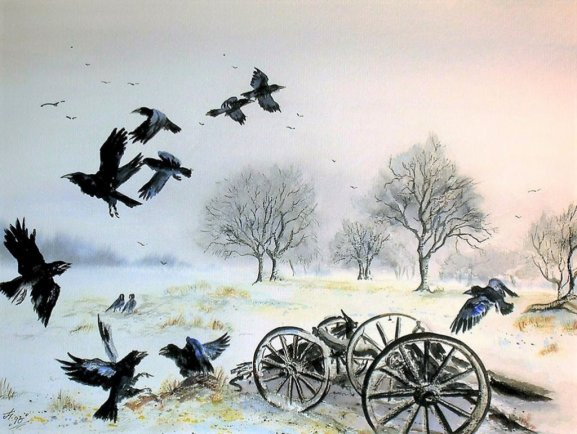 Winter in the Country Watercolor by Thomas Mühlbauer - Doodlewash