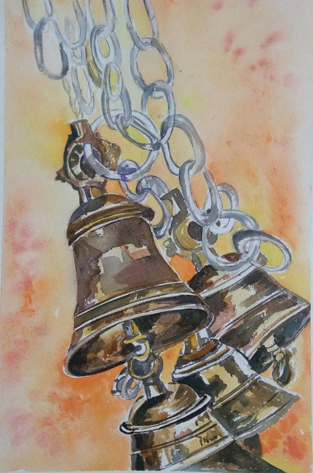 Watercolor Painting of Bells by Lalita Sharma - Doodlewash