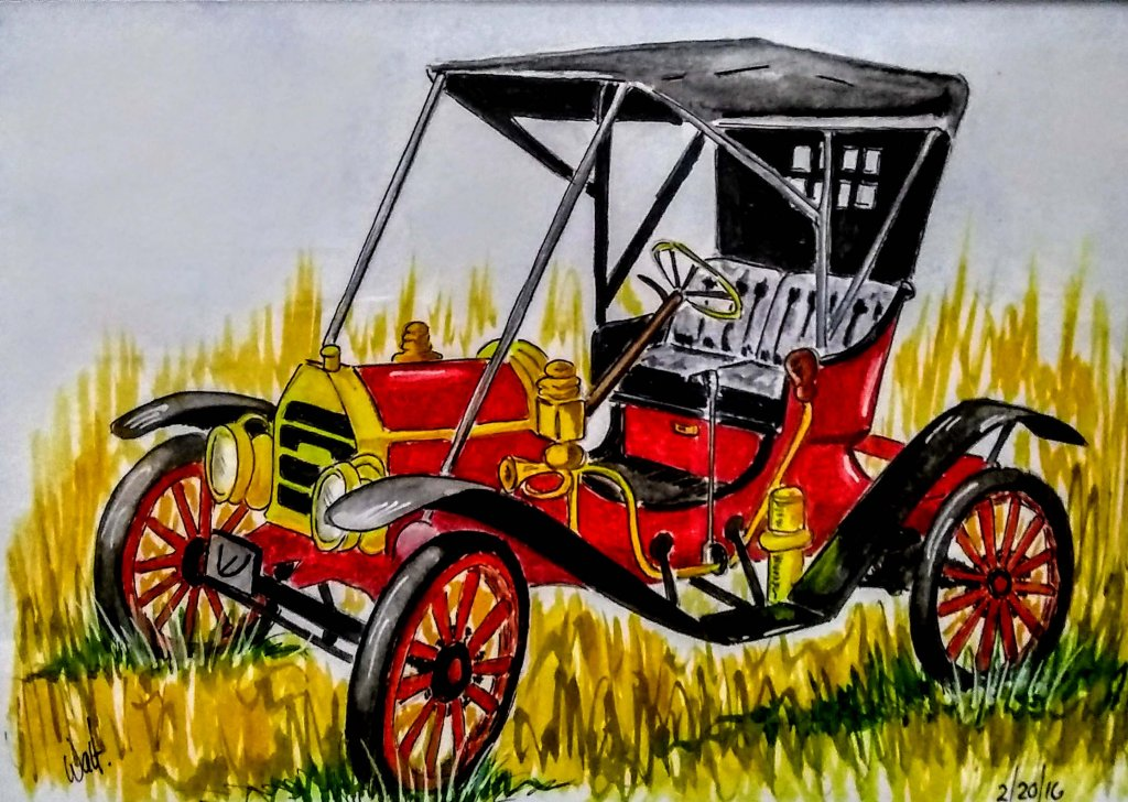 Antique Car Watercolor Painting by Walt Pierluissi - Doodlewash