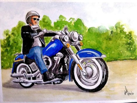 Motorcycle Watercolor Painting by Walt Pierluissi - Doodlewash