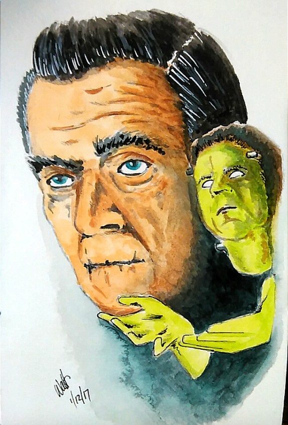 Boris Karloff Watercolor Painting by Walt Pierluissi - Doodlewash