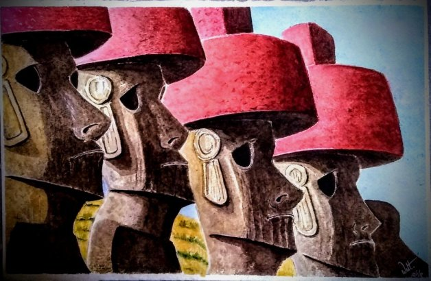 Rapa Nui Easter Island Watercolor Painting by Walt Pierluissi - Doodlewash
