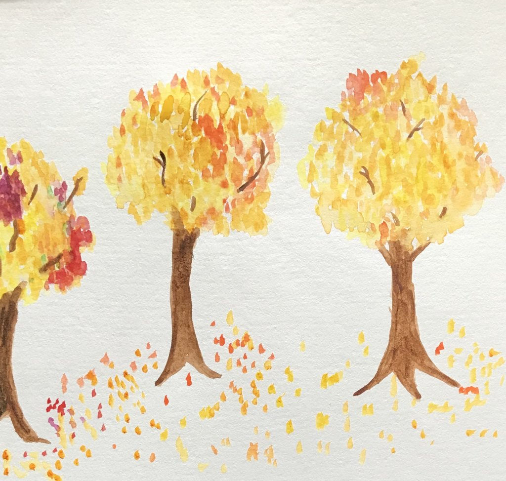 I painted my first piece with my prize watercolors! The partial tree on the left is a sweet gum. Not