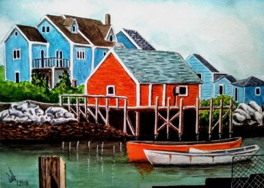 Chilean Fisherman Village Watercolor Painting by Walt Pierluissi - Doodlewash