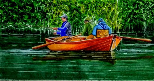 Fishing on Maullín River Chile Watercolor Painting by Walt Pierluissi - Doodlewash