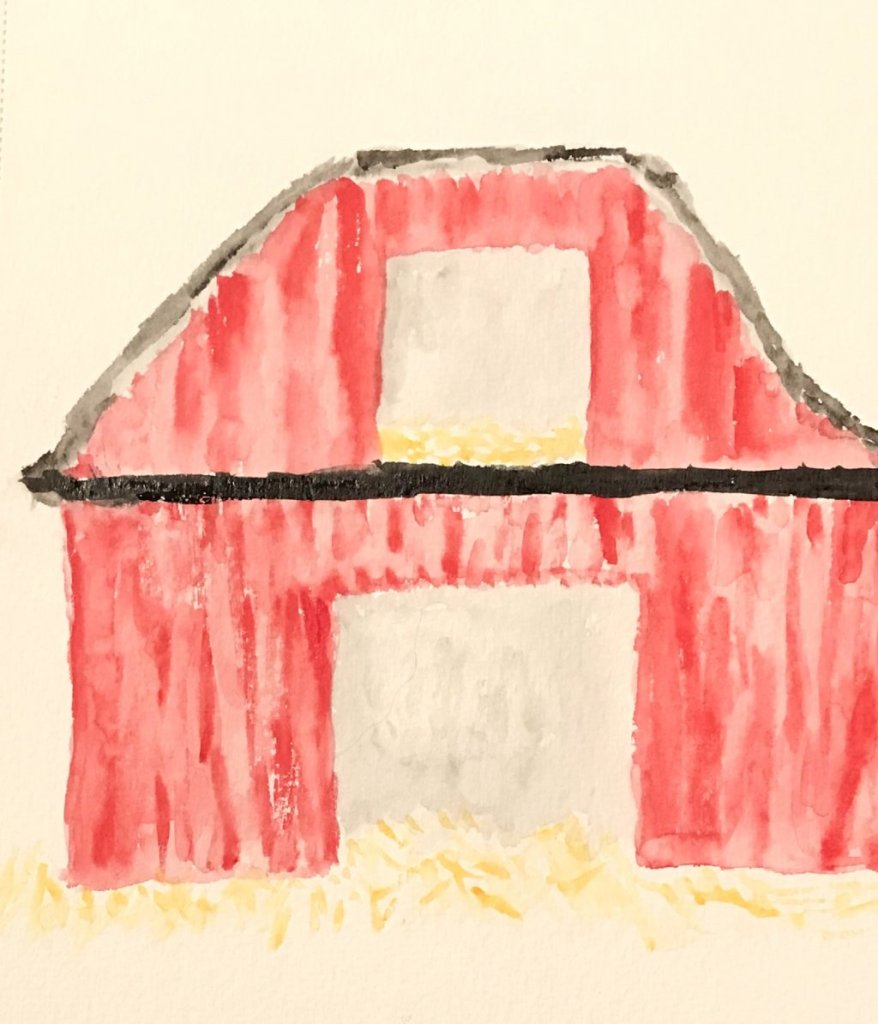 Poor barn's roof was uneven but I liked the red color. Actually I've had problems finding waterc