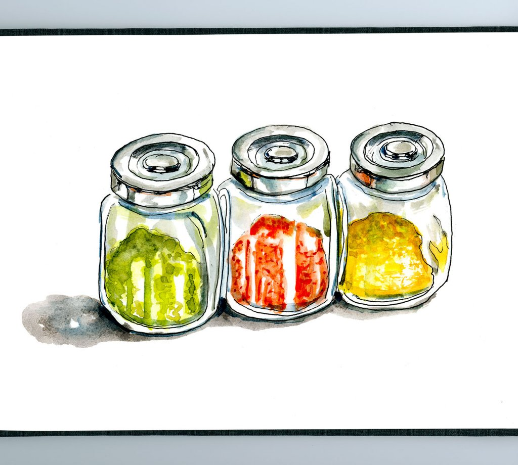 Day 12 - Just A Bit Of Spice Jars Watercolor - Doodlewash