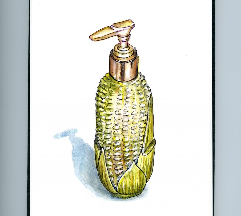 Day 18 - Inktober Watercolor Avon Harvest Corn Lotion Bottle_IG