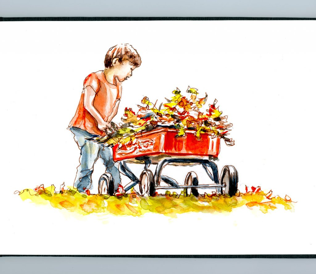 Day 2 - Collecting Leaves In Autumn Child Wagon Watercolor - Doodlewash