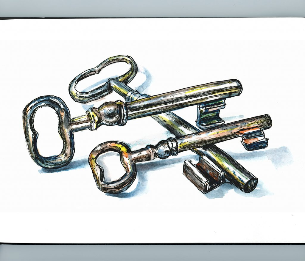 Day 22 - Antique Door Keys Watercolor - Doodlewash