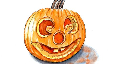 Day 28 - Halloween Pumpkin Inktober Watercolor - Doodlewash