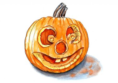 Day 28 - Halloween Pumpkin Inktober Watercolor - Doodlewash