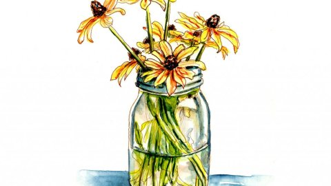 Day 4 - Fall Flowers Watercolor Black-Eyed Susan Jar - Doodlewash