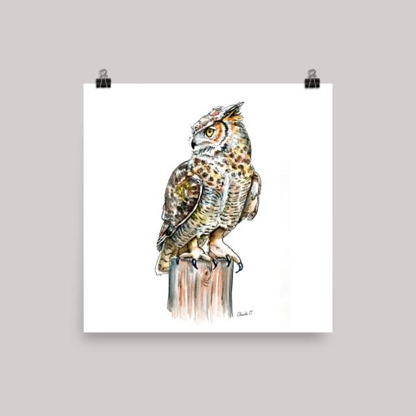 Great Horned Owl Watercolor Print