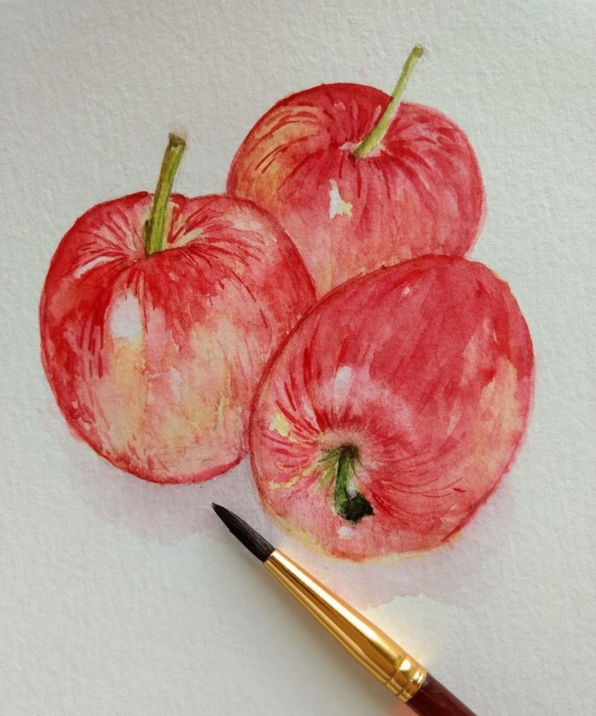doodlewashOctober2018 – Apples So this morning I positioned three Gala apples (my favorite) by