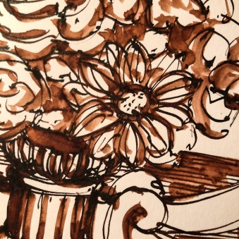 Painting with Diamine Chocolate ink for #inktober2018: https://dkatiepowellart.me/2018/10/10/inktobe