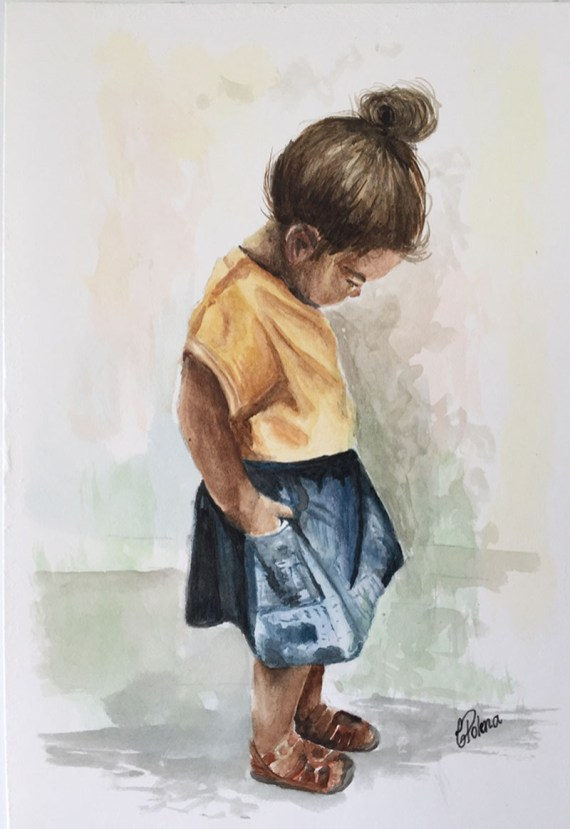 Portrait of Little Girl Watercolor Painting by Claudia Polena - Doodlewash
