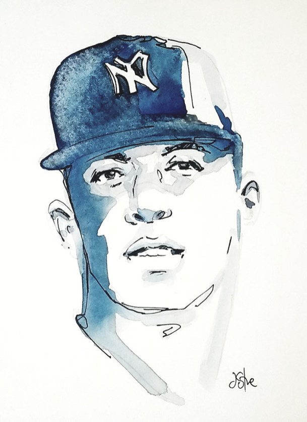 Baseball Player Watercolor By Jeff Stone - Doodlewash