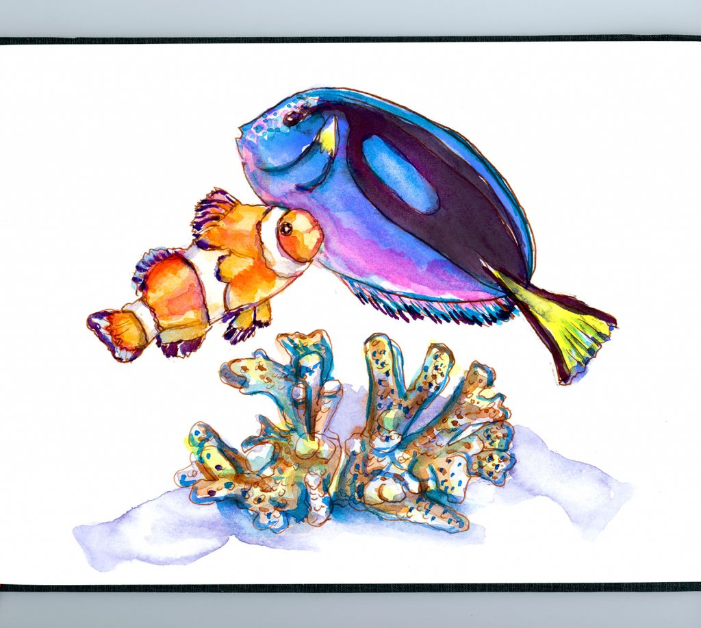 Day 12 - Clown Fish Blue Tang Watercolor Nemo Dory Sketchbook - Doodlewash
