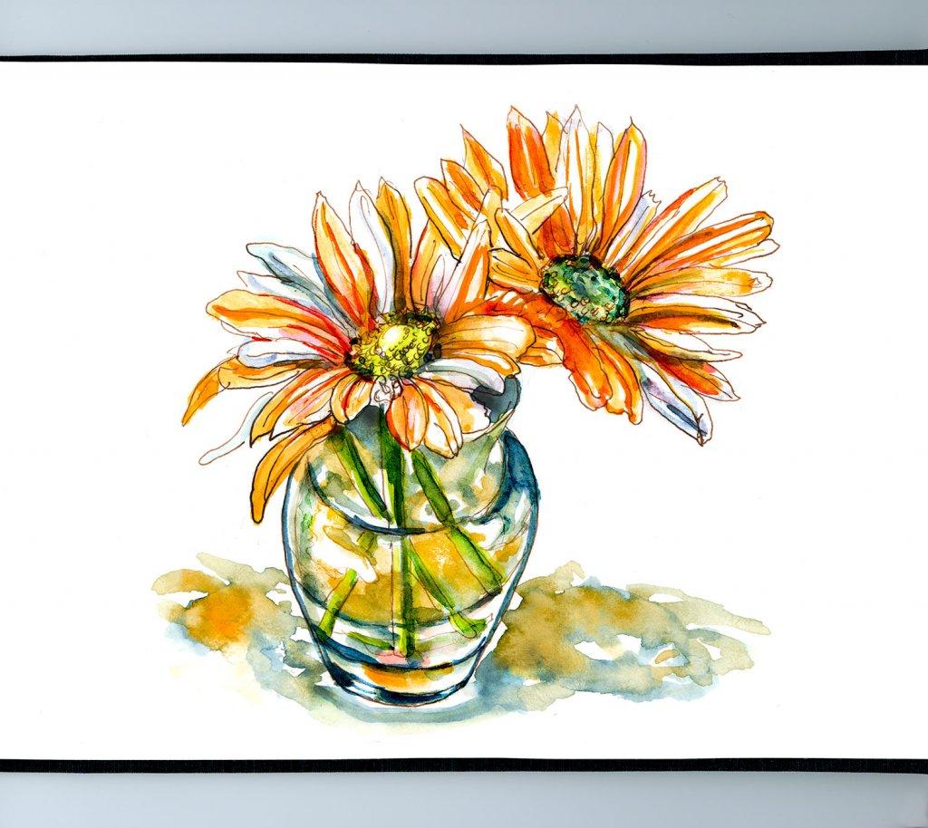 Day 13 - Orange Flowers Watercolor Painting Sketchbook - Doodlewash