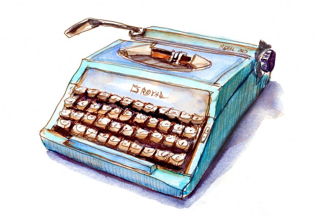 Day 18 - Cool Retro Typewriter Illustration - Doodlewash