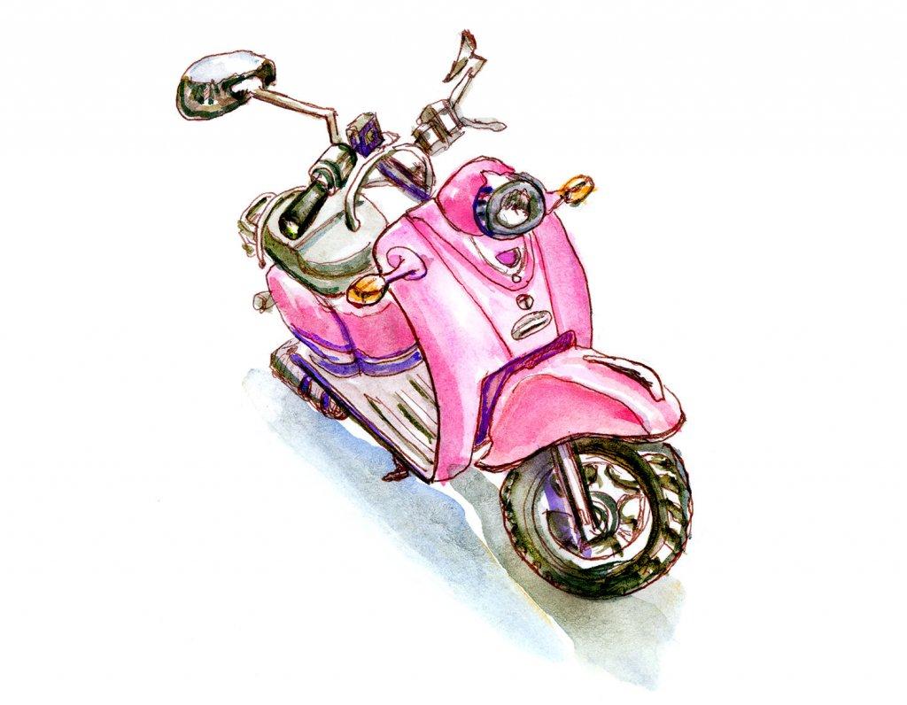 Day 19 Pink Retro Scooter Watercolor Sketchbook - Doodlewash