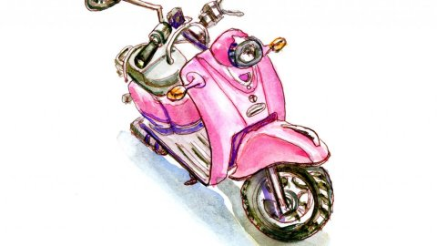 Day 19 Pink Retro Scooter Watercolor Sketchbook - Doodlewash