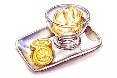 Day 2 - Lemon Sorbet Ice Cream Watercolor - Doodlewash