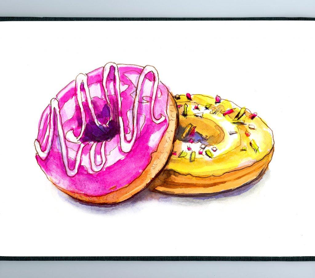 Day 20 - Colorful Donuts Watercolor Sketchbook - Doodlewash