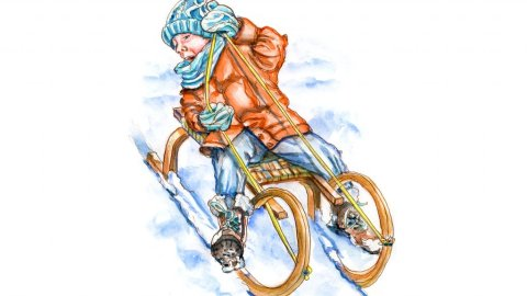 Day 22 - Little Boy Sledding Toboggan Watercolor Christmas - Doodlewash
