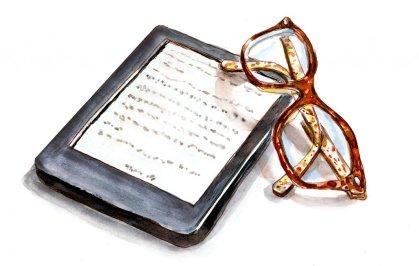 Day 28 - Modern Reading EReader Glasses Watercolor - Doodlewash