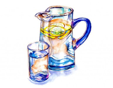 Day 5 - Lemon Water Glass Pitcher Watercolor - Doodlewash