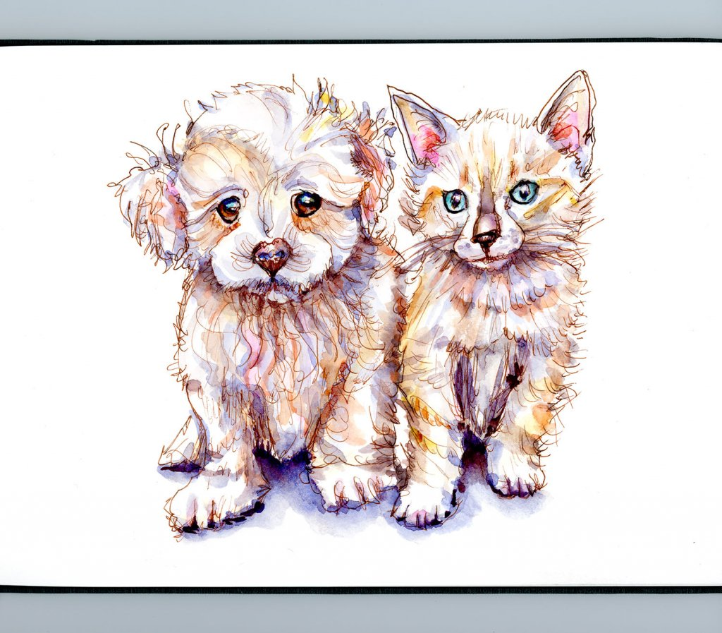 Day 7 - Puppy And Kitten Watercolor Innocence Detail - Doodlewash