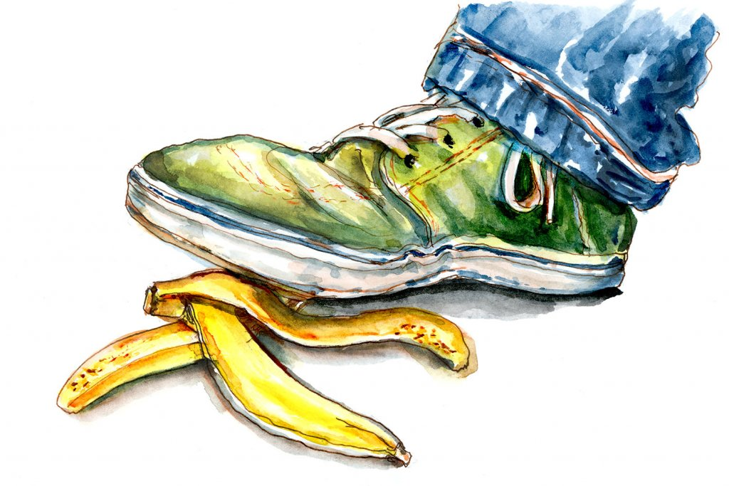 Day 9 - About to Slip On A Banana Peel Watercolor - Doodlewash