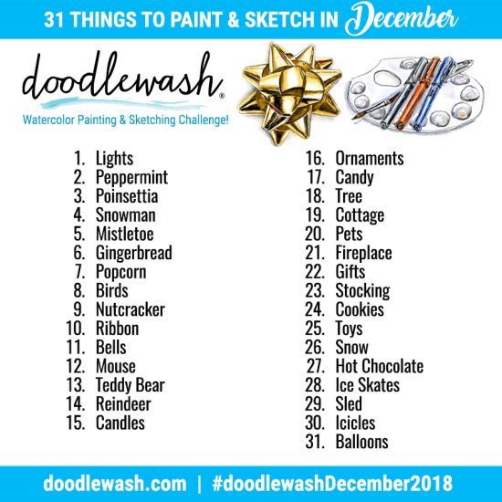 Doodlewash December 2018 Sketching and Painting Prompts