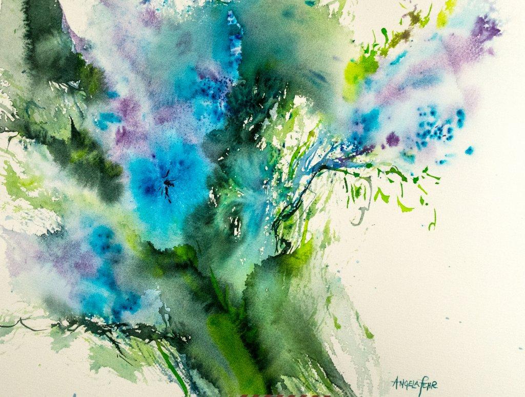 Angela Fehr Watercolor - Feeling Blue in a Good Way - Doodlewash