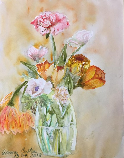Flowers In Vase Watercolor by Carmen Costea - Doodlewash