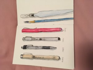 Quick sketch in my Sketchbook Project book, sorry couldn't figure out how to turn it IMG_1545