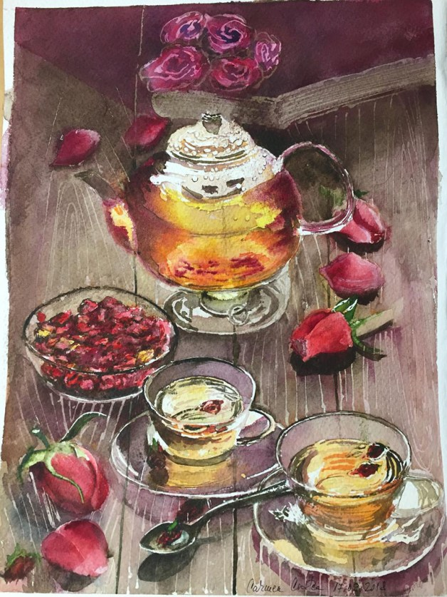 Let's Have Tea Watercolor by Carmen Costea - Doodlewash