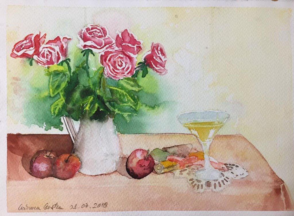 Still Life With Roses Watercolor by Carmen Costea - Doodlewash