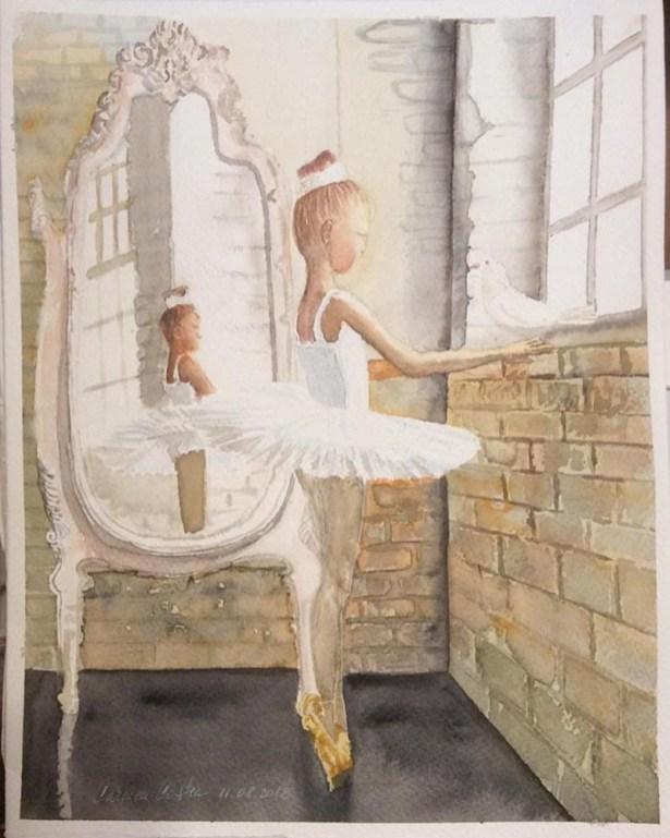 Ballerina Watercolor by Carmen Costea - Doodlewash