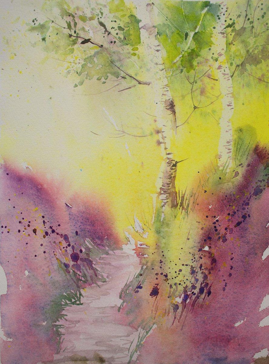 A triad of Rose of Ultramarine, Cadmium Yellow and Cobalt Teal landscape by Angela Fehr - Doodlewash