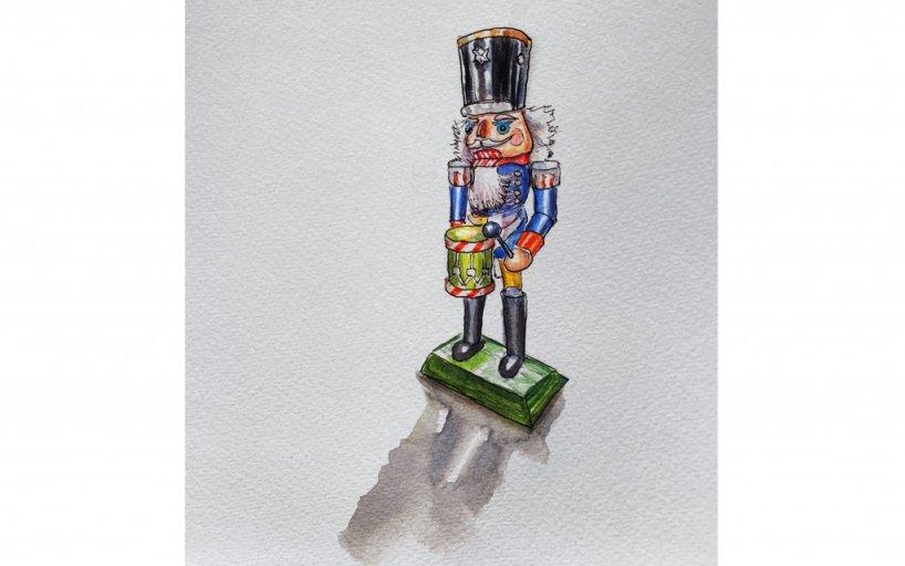 Day 9 - Nutcracker Watercolor - Doodlewash