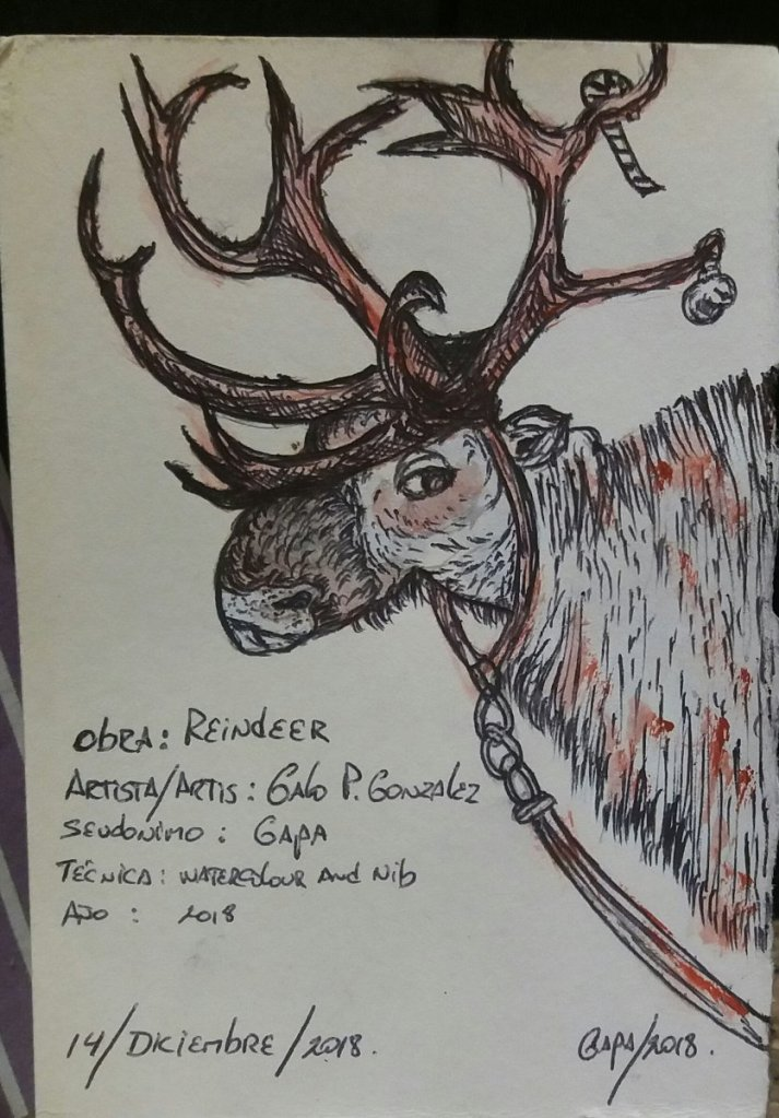 REINDEER… . Watercolour and Nib. 14 December 2018 20181214_181400-1