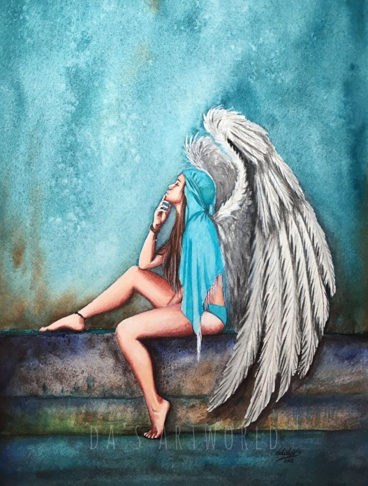 Here! My Angel is finished! After all the Christmas cards, gifts and on I felt I needed to paint som