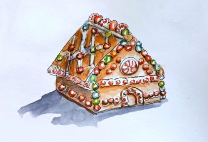 Day 6 - Gingerbread House Watercolor - Doodlewash