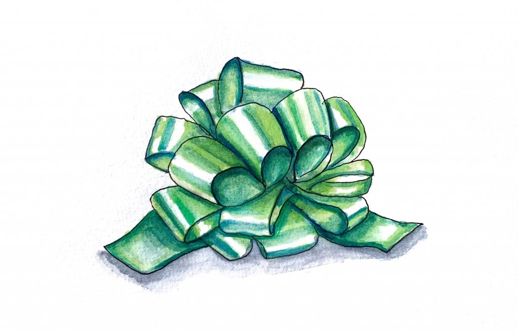 Day 10 - Christmas Bow Watercolor Green - Doodlewash
