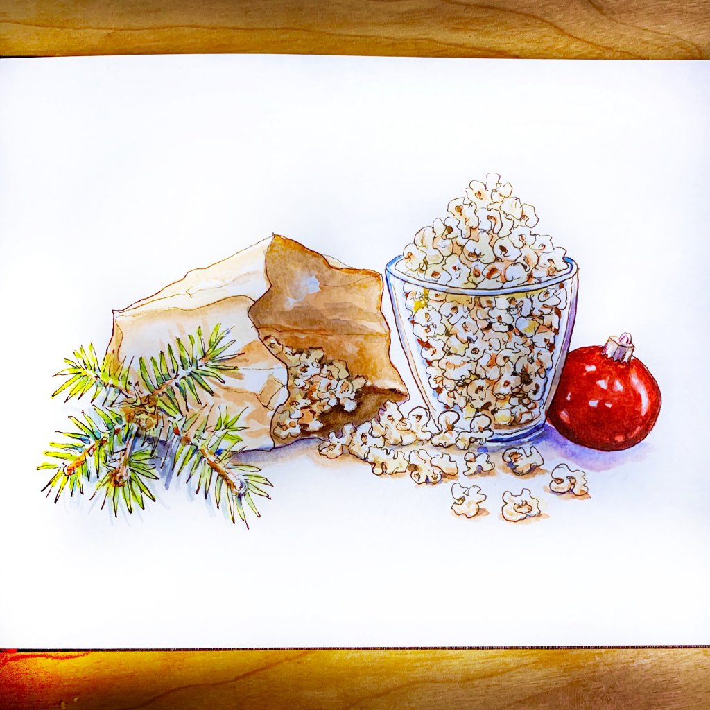 Popcorn At The Holidays Watercolor Sketchbook -