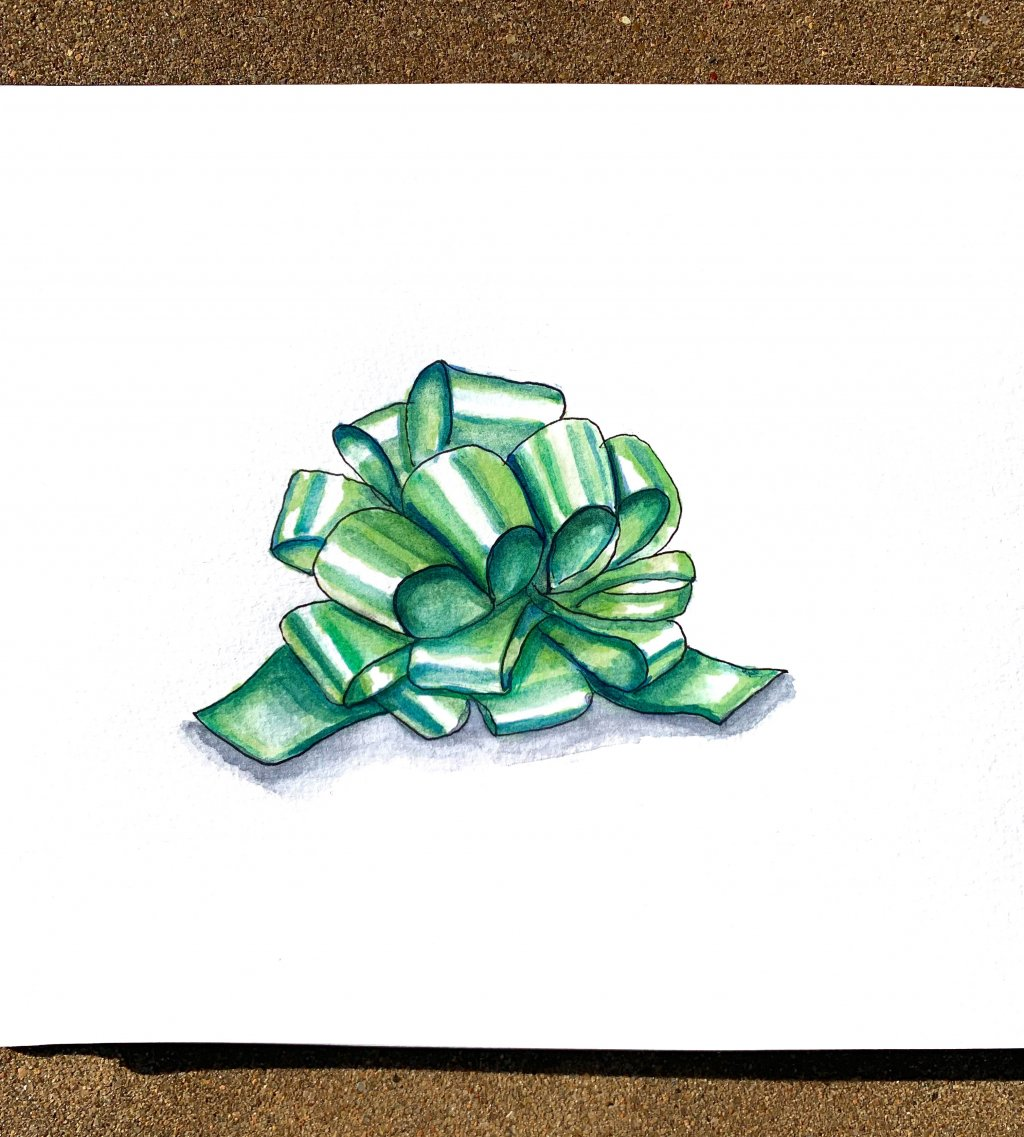 Day 10 - Christmas Bow Watercolor Green Detail - Doodlewash