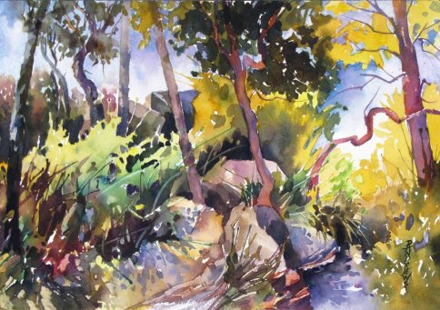 Watercolor by Rae Andrews - AlongThe Rock Trail watercolor 10 x 14